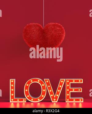 Corazón rojo abstracto peludos con cartas de amor de marquesina decorado sobre fondo rojo para san valentín,3D rendering Imagen De Stock