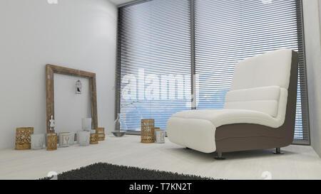 3D Render de Salón interior contemporáneo y muebles modernos. Imagen De Stock