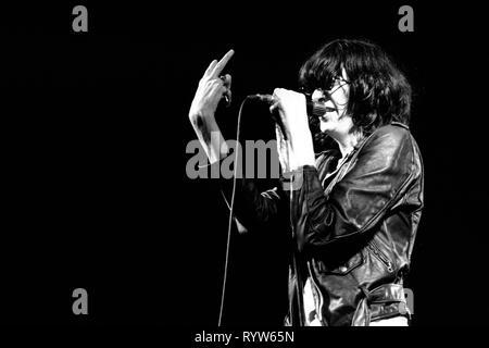 Los miembros de la banda estadounidense de rock Les Ramones durante el show de la televisión alemana Musikladen. Cante: Joey Ramone. Bremen, 10 de septiembre de 1978 Imagen De Stock