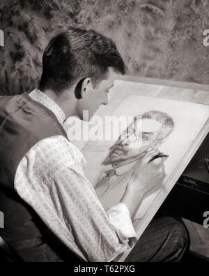 1920 1930 El hombre artista boceto lápiz rostro de hombre barbado - HAR3335001 HARS VISTA TRASERA OCUPACIONES IMAGINACIÓN BARBUDO SKETCH SEMEJANZA VISTA POSTERIOR creatividad joven adulto hombre blanco y negro la etnia CAUCÁSICA HAR001 ANTICUADO Imagen De Stock