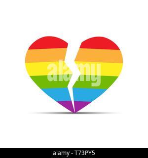Corazón en los colores de la comunidad LGBT está dividida en dos mitades, diseño plano Imagen De Stock