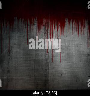 Y salpicaduras de sangre gotea sobre un fondo de metal grunge Imagen De Stock