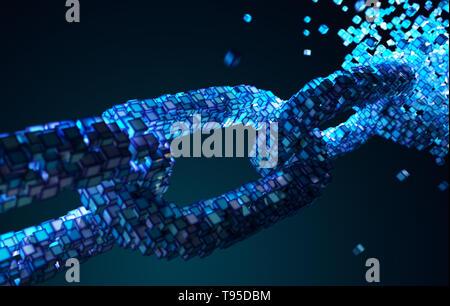 Tecnología Blockchain concepto. Ilustración 3D Imagen De Stock