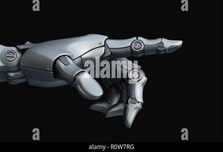 La mano del robot está apuntando. Ilustración 3D Imagen De Stock