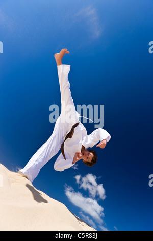 Un artista marcial patada alta. Imagen De Stock