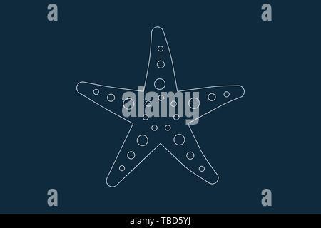 Dibujo de líneas vector de una estrella de mar de color azul Imagen De Stock