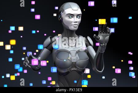 Robot jugando con objetos virtuales. Ilustración 3D Imagen De Stock