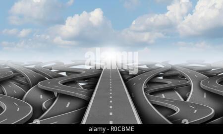 Concepto de negocio camino como un negocio de éxito camino escapar de la confusión como una ilustración 3D. Imagen De Stock