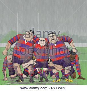 Gruñendo agresivos jugadores de rugby más antiguos formando scrum Imagen De Stock