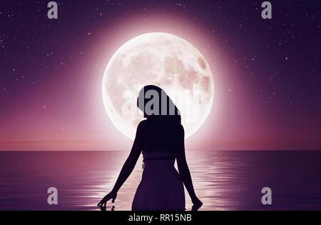 Chica caminando sobre el agua bajo la luz de la luna,3D rendering Imagen De Stock