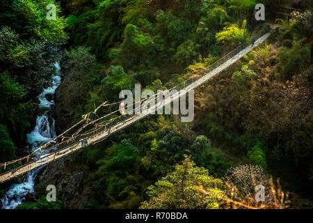 Sherpa con equipaje cruce puente colgante iluminado en Nepal, Langtang valley Imagen De Stock