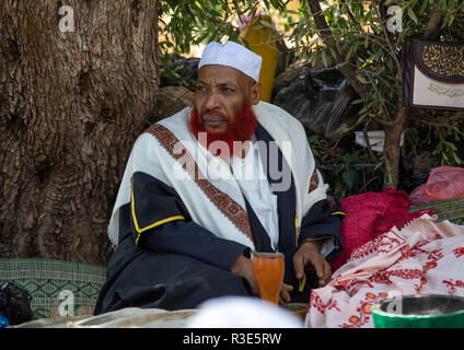 Imán con barba roja masticar khat durante una celebración sufi, Región Harari, Harar, Etiopía Imagen De Stock