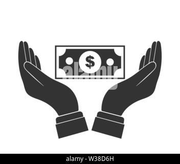 Bill Dollar y colocó la palma de su mano. Diseño simple plana Imagen De Stock