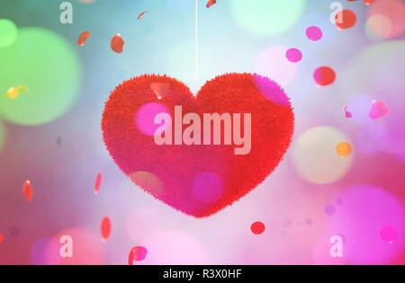 Resumen colorido corazón furry decoradas con coloridas bokeh luz para san valentín,3D rendering Imagen De Stock