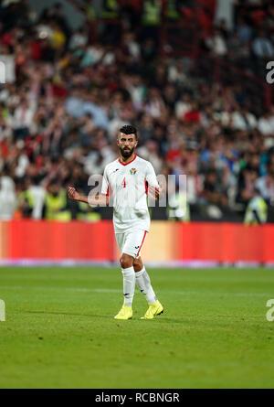 El 15 de enero de 2019, el estadio Mohammed bin Zayed, Abu Dhabi, Emiratos Árabes Unidos; AFC Copa Asiática de Fútbol, Palestina frente a Jordania; Baha' Abdel-Rahman de Jordania Imagen De Stock