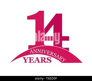 14 años aniversario, plano sencillo diseño, el logotipo Imagen De Stock