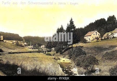 Schwarze Pockau, Edificios en 1912, Erzgebirgskreis Erzgebirgskreis, Zöblitz, Schwarzwassertal, Alemania Imagen De Stock