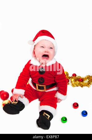 Lindo bebé en traje de Papá Noel Imagen De Stock