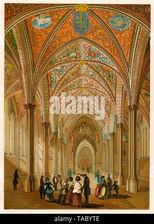 Interior de la iglesia medieval en Londres, ver en los 1800s. Litografía de color Imagen De Stock