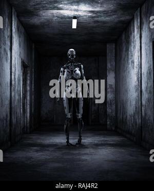 Robot en casa embrujada,3d ilustración Imagen De Stock