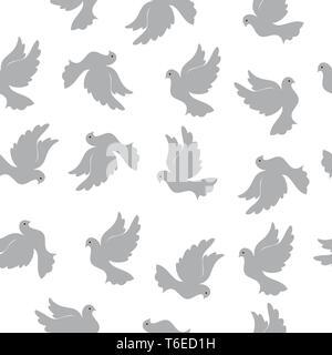Patrón sin fisuras con palomas para el diseño y la decoración. Modernos colores aleatorios. Ideal para textiles, embalajes, papel de impresión simple, antecedentes y t Imagen De Stock