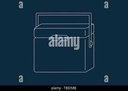 Dibujo de líneas vector de un enfriador o caja de hielo sobre azul Imagen De Stock