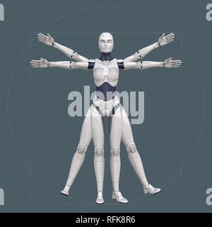 Vitruvian man, cyborg. Ilustración 3D Imagen De Stock