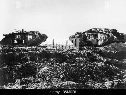9 1917 11 20 A2 E batalla de tanques cerca de Cambrai Engl tanques Guerra Mundial 1914 18 Western Front Tank batalla Imagen De Stock