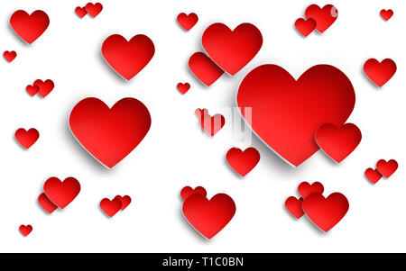 Corazón rojo sobre fondo blanco con reflejo en la sombra. Elegante y volumétrica Imagen De Stock