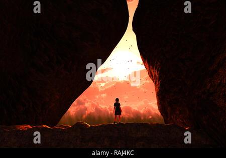 Chica caminando hacia la luz y salir de la cueva,3d ilustración Imagen De Stock