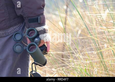 Persona sosteniendo los binoculares en mano Imagen De Stock