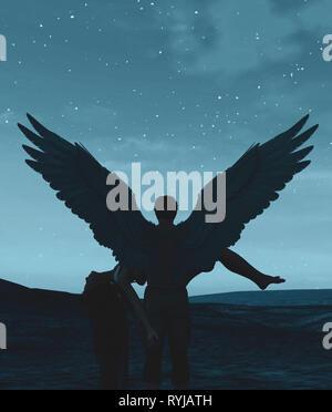 """""""Hasta que la muerte nos separe"""",3d ilustración de un cielo de ángeles en la tierra,mixed media para la ilustración de libros o portada del libro. Imagen De Stock"""