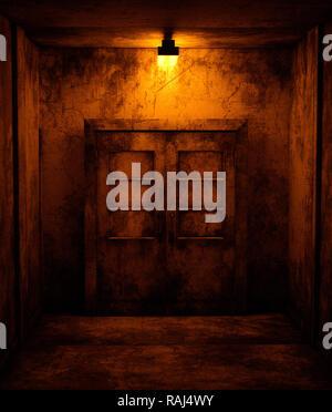 Un viejo puertas en casa abandonada,3D rendering Imagen De Stock