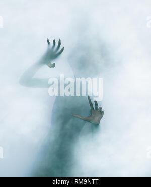 Escapar de un mal,la figura de una persona malvada intenta salir de otra dimensión,3D rendering Imagen De Stock