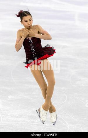 Elizabet Tursynbayeva (KAZ) competir en el Patinaje artístico - Corto de damas en los Juegos Olímpicos de Invierno PyeongChang 2018 Imagen De Stock