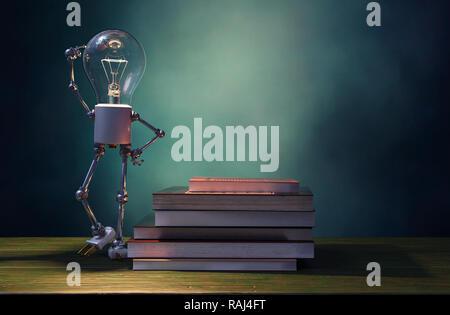 Bombilla de luz brillando en mesa de madera con pila de libros ,3D rendering Imagen De Stock