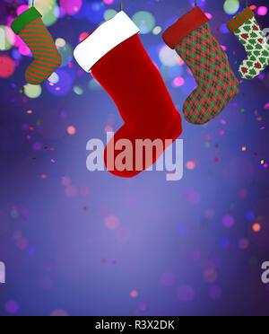Medias de Navidad decorado sobre fondo de colores,3D rendering Imagen De Stock