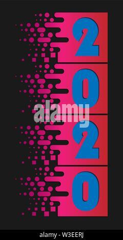 Los números de 2020 son cortadas en cuadrados con sombras. Año nuevo 2020. Imagen De Stock