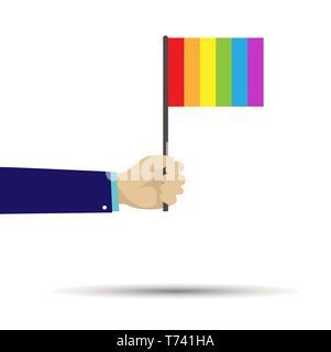 Mano sujetando una bandera con los colores de LGBT, diseño plano Imagen De Stock