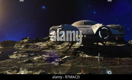 Ovni en la Luna. Ilustración 3d Imagen De Stock