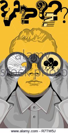 Hombre viendo buena y mala previsión meteorológica a través de unos prismáticos Imagen De Stock