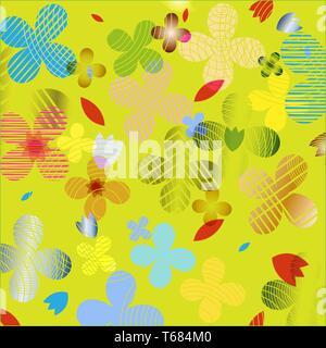 Patrón floral abstracto en colores brillantes y coloridas. Ideal para textiles, embalajes, papel de impresión, fondos y texturas simples. Imagen De Stock