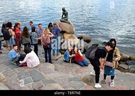 Dinamarca, Zelanda, Copenhague, los turistas delante de la Sirenita en su roca, la estatua de bronce de Edvard Eriksen Imagen De Stock
