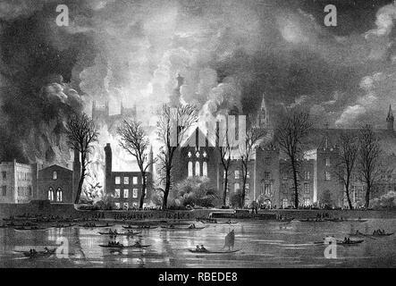 Casas del Parlamento sobre el fuego en octubre de 1834 Imagen De Stock