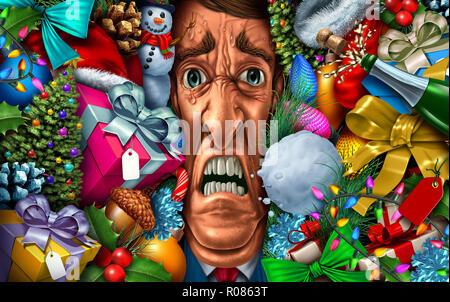 El estrés de vacaciones y compras de navidad o sentirse abrumado por el año nuevo como un concepto de psicología con ilustración 3D elementos. Imagen De Stock