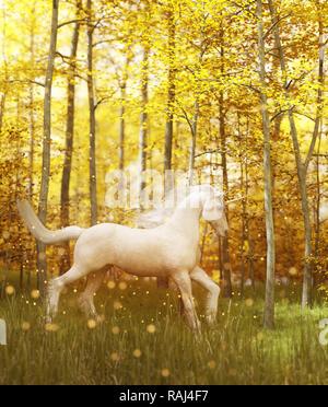 Unicornio blanco en bosque mágico,3d ilustración fantástica Imagen De Stock
