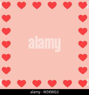 Corazón rojo en los bordes del fondo de color rosa. Solución ideal para el diseño y la decoración de saludos. Imagen De Stock