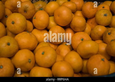 Muchos pequeños maduras jugosas mandarinas en el cuadro. Antecedentes Imagen De Stock