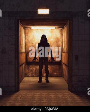 Scary monster en un ascensor,3D rendering para la portada del libro o la ilustración de libros Imagen De Stock