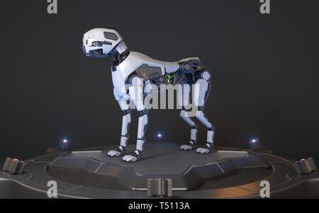 Perro robot se asienta sobre una base de carga. Ilustración 3D Imagen De Stock